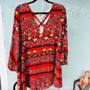 LUSH • red floral long sleeve bohemian chic dress